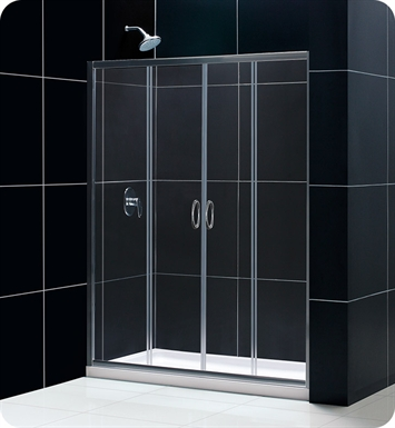 "DreamLine DL-6112C-01CL Visions Complete Shower Door Kit with Shower Base and Backwalls With Dimensions: W 60"" x D 30"" x H 76 3/4"" And Finish: Chrome And Glass Type: Clear Glass And Drain Position: Center Drain"