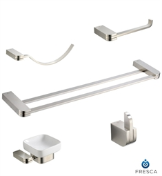 Fresca FAC1300BN-D Solido 5 Piece Bathroom Accessory Set in Brushed Nickel with Double Towel Bar