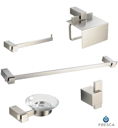 Fresca FAC1400BN Ellite 5 Piece Bathroom Accessory Set in Brushed Nickel