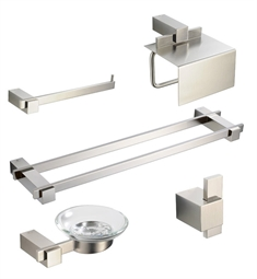 Fresca FAC1400BN D Ellite 5 Piece Bathroom Accessory Set In Brushed Nickel  With Double Towel
