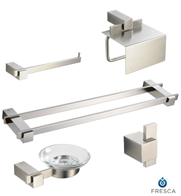 Fresca Ellite 5 Piece Bathroom Accessory Set in Brushed Nickel with Double Towel Bar