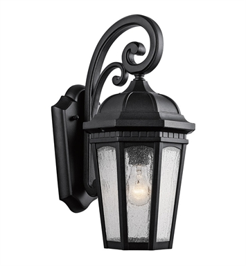 Kichler 9033BKT Courtyard Collection 1 Light Outdoor Wall Sconce in Textured Black