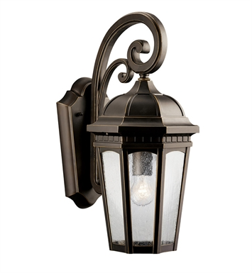 Kichler 9033RZ Courtyard Collection 1 Light Outdoor Wall Sconce in Rubbed Bronze