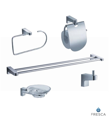 Fresca Generoso 5 Piece Bathroom Accessory Set in Chrome with Double Towel Bar