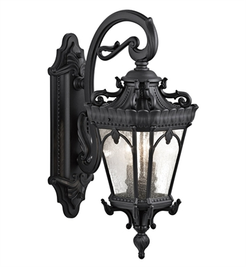 Kichler 9357BKT Tournai Collection 2 Light Large Closed Bottom Outdoor Wall Sconce in Textured Black