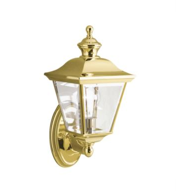 "Kichler 9712PB Bay Shore 1 Light 7"" Incandescent Outdoor Wall Sconce in Polished Brass"