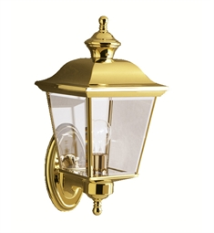 Kichler Bay Shore Collection One Light Outdoor Wall Sconce in Polished Brass