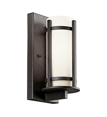 Kichler 49119AVIFL Camden Collection Single Light Fluorescent Outdoor Wall Sconce in Anvil Iron