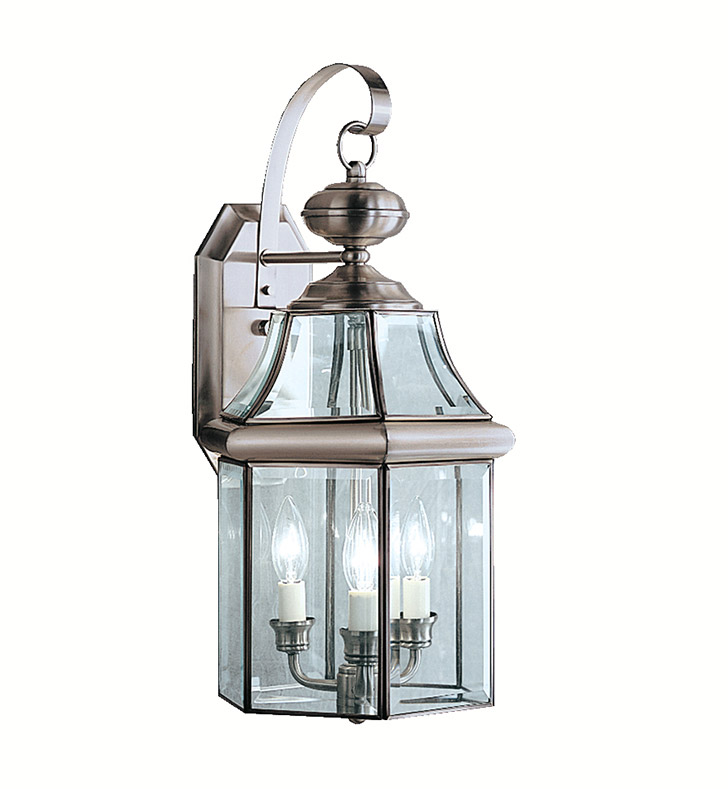 Antique Pewter Wall Sconces : Kichler 9785AP Embassy Row Collection 3 Light Outdoor Wall Sconce in Antique Pewter