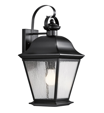 Kichler 9709BK Mount Vernon Collection 1 Light Outdoor Wall Sconce in Black (Painted)