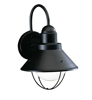 Kichler 9022BK Seaside Collection 1 Light Outdoor Wall Sconce in Black (Painted)