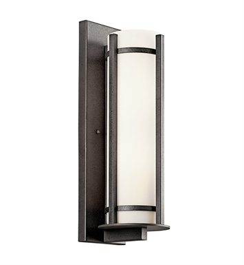 Kichler 49120AVIFL Camden Collection 2 Light Fluorescent Outdoor Wall Sconce in Anvil Iron