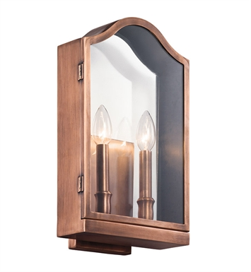 Kichler 49155ACO Antico Collection 2 Light Outdoor Wall Sconce in Antique Copper