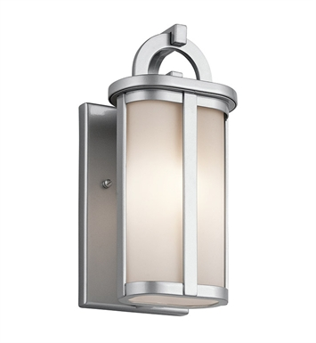 Kichler 49467PL Rivera Collection 1 Light Halogen Outdoor Wall Sconce in Platinum