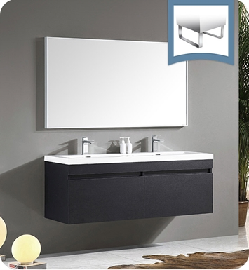 "Fresca FVN8040BW Largo 57"" Black Modern Bathroom Vanity with Wavy Double Sinks"