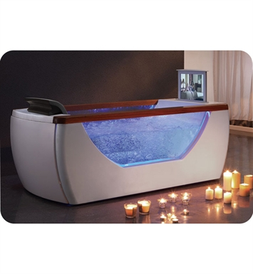 Eago AM195 6 foot Right Drain Rectangular Free Standing Air Bath Tub with TV Screen