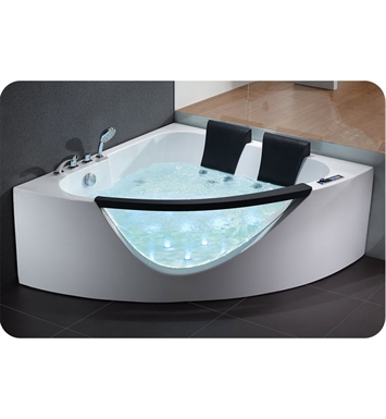 Eago AM199 5 foot Rounded Clear Modern Double Seat Corner Whirlpool Bath Tub with Fixtures