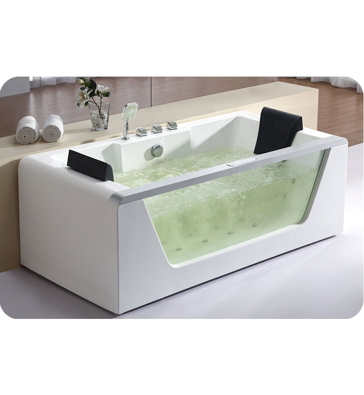 eago am196 6 foot clear rectangular whirlpool bath tub for