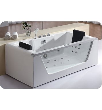 Eago AM196 6 foot Clear Rectangular Whirlpool Bath Tub for Two with Fixtures