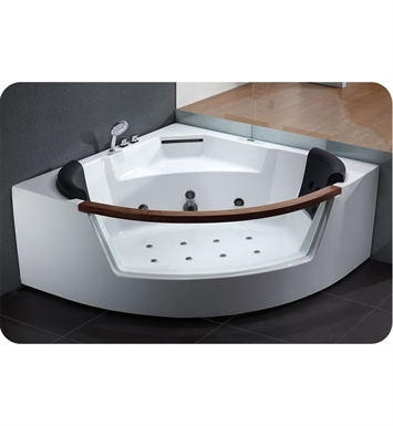 Eago AM197 5 foot Rounded Clear Modern Corner Whirlpool Bath Tub with Fixtures
