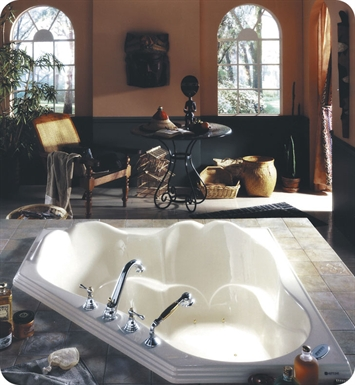 "Neptune Orphee 54"" Customizable Corner Bathroom Tub With Jet Mode: Tonic Jets"