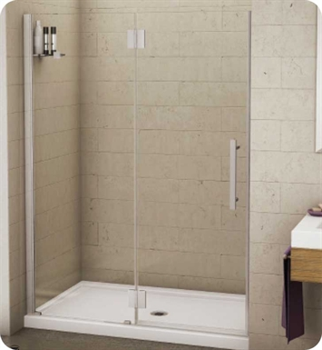 "Fleurco PGLP41-25-40R-M-B Platinum In Line Door and Panel with Glass to Glass Hinges and Glass Shelf Support With Dimensions: 41 5/8"" to 42 7/8"" Width And Hardware Finish: Brushed Nickel And Glass Type: Clear Glass And Door Direction: Right And Shower Door Handles: Curved And Shower Door Hinges: Rectangular"