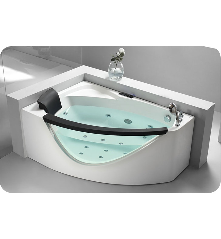 Eago am198 r 5 foot right drain rounded clear modern corner whirlpool bath tub with fixtures - Contemporary corner soaking tubs ...