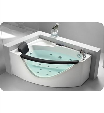 Eago AM198-R 5 foot Right Drain Rounded Clear Modern Corner Whirlpool Bath Tub with Fixtures