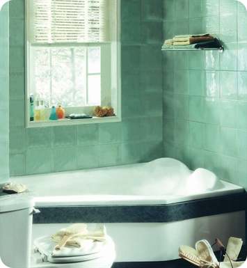 "Neptune VE60S Venus 60"" Customizable Corner Bathroom Tub With Jet Mode: No Jets (Bathtub Only)"