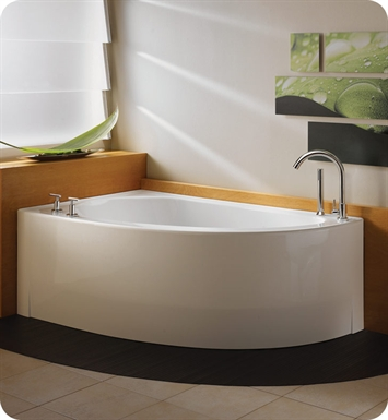 "Neptune WI60QD Wind 60"" Customizable Corner Bathroom Tub With Jet Mode: Tonic Jets And Drain Position: Right Side - Integrated Tiling Flange"