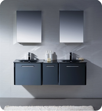 "Fresca FVN17241224BL Brillante 60"" Decor Planet Exclusive Double Sink Modern Bathroom Vanity in Black"