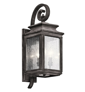 Kichler 49502WZC Wiscombe Park Collection 3 Light Outdoor Wall Sconce in Pewter