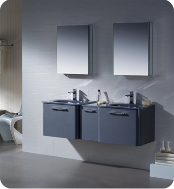 "Fresca FVN17241224DB Brillante 60"" Decor Planet Exclusive Double Sink Modern Bathroom Vanity in Lavender Grey"