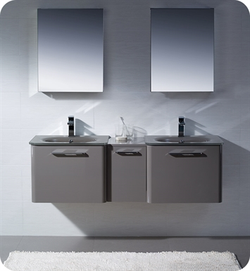 Fresca FVN17241224GR Brillante Double Sink Modern Bathroom Vanity in Stone Grey