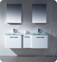 Fresca Brillante Decor Planet Exclusive Double Sink Modern Bathroom Vanity in White