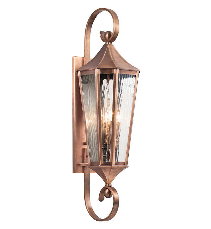 Antique Outdoor Wall Sconces : Kichler 49514ACO Stonebrook Collection 4 Light Large Outdoor Wall Sconce in Antique Copper
