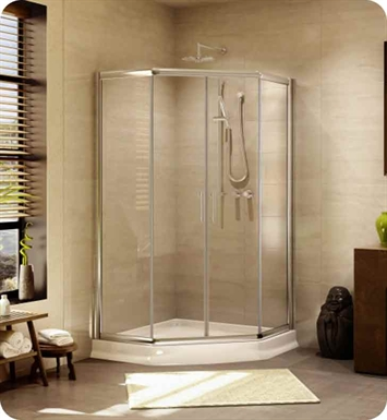 "Fleurco EAN36-25-50  Signature 36"" Amalfi Neo Semi Frameless Neo Angle Sliding Shower Doors With Hardware Finish: Brushed Nickel And Glass Type: Paris Point Glass (Frosted)"