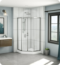 "Fleurco EAN38 Signature 38"" Amalfi Neo Semi Frameless Neo Angle Sliding Shower Doors"