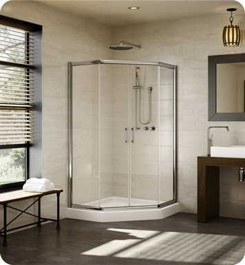 "Fleurco EAN42-25-40  Signature 42"" Amalfi Neo Semi Frameless Neo Angle Sliding Shower Doors With Hardware Finish: Brushed Nickel And Glass Type: Clear Glass"