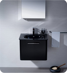 Fresca FVN1724BL Brillante Wall Mount Modern Bathroom Vanity in Black