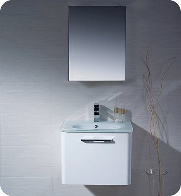 Fresca FVN1724WH Brillante Wall Mount Modern Bathroom Vanity in White
