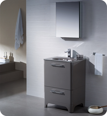"Fresca FVN1725GR Brillante 23"" Decor Planet Exclusive Modern Bathroom Vanity in Stone Grey"