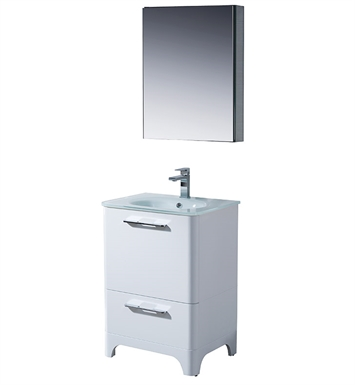 "Fresca FVN1725WH Brillante 23"" Decor Planet Exclusive Modern Bathroom Vanity in White"