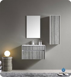 Fresca 32 inch Wall Mount High Gloss Modern Bathroom Vanity with Mirror and Faucet Ash Gray
