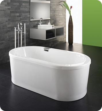 "Neptune Ruby 72"" x 36"" Freestanding Customizable Oval Bathroom Tub With Jet Mode: Mass-Air Jets"