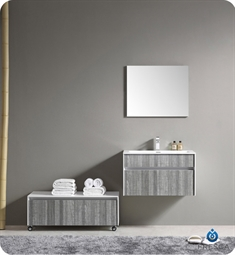 Fresca 35 inch Wall Mount High Gloss Modern Bathroom Vanity with Mirror and Faucet Ash Gray