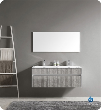 "Fresca FVN8512HA Siena 47"" Double Sink Modern Bathroom Vanity with Mirror and Faucets in High Gloss Ash Gray"