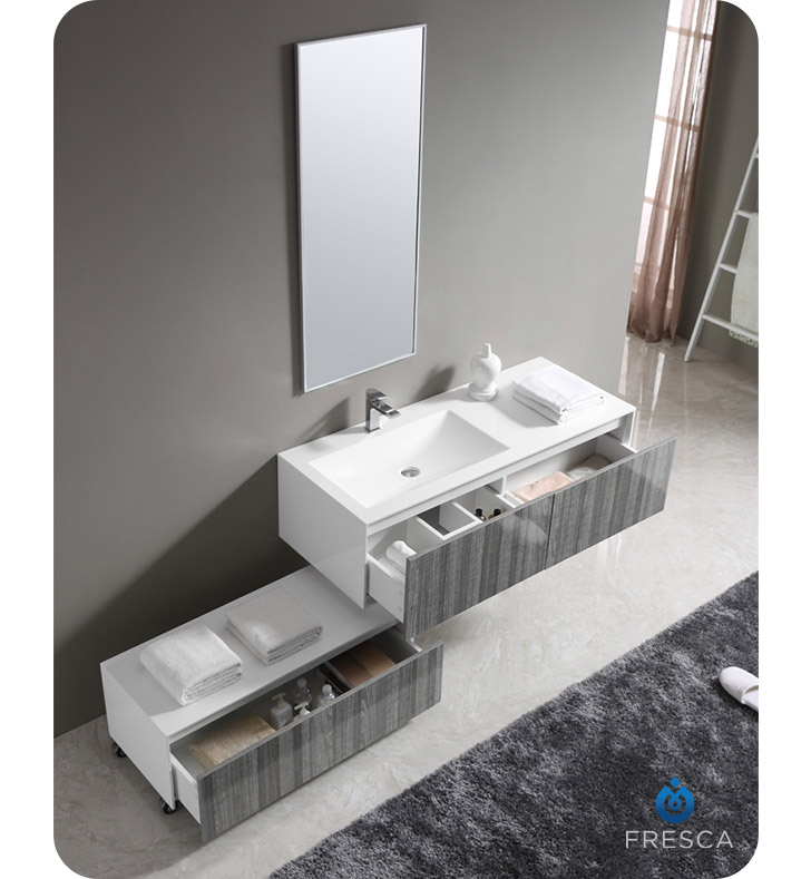 FVN8513HA Fresca 52 Inch Wall Mount High Gloss Modern Bathroom Vanity With