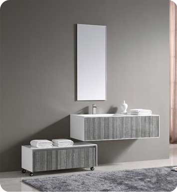 "Fresca FVN8513HA 52""Wall Mount High Gloss Modern Bathroom Vanity with Mirror and Faucet Ash Gray"