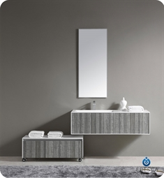 Fresca 52 inch Wall Mount High Gloss Modern Bathroom Vanity with Mirror and Faucet Ash Gray